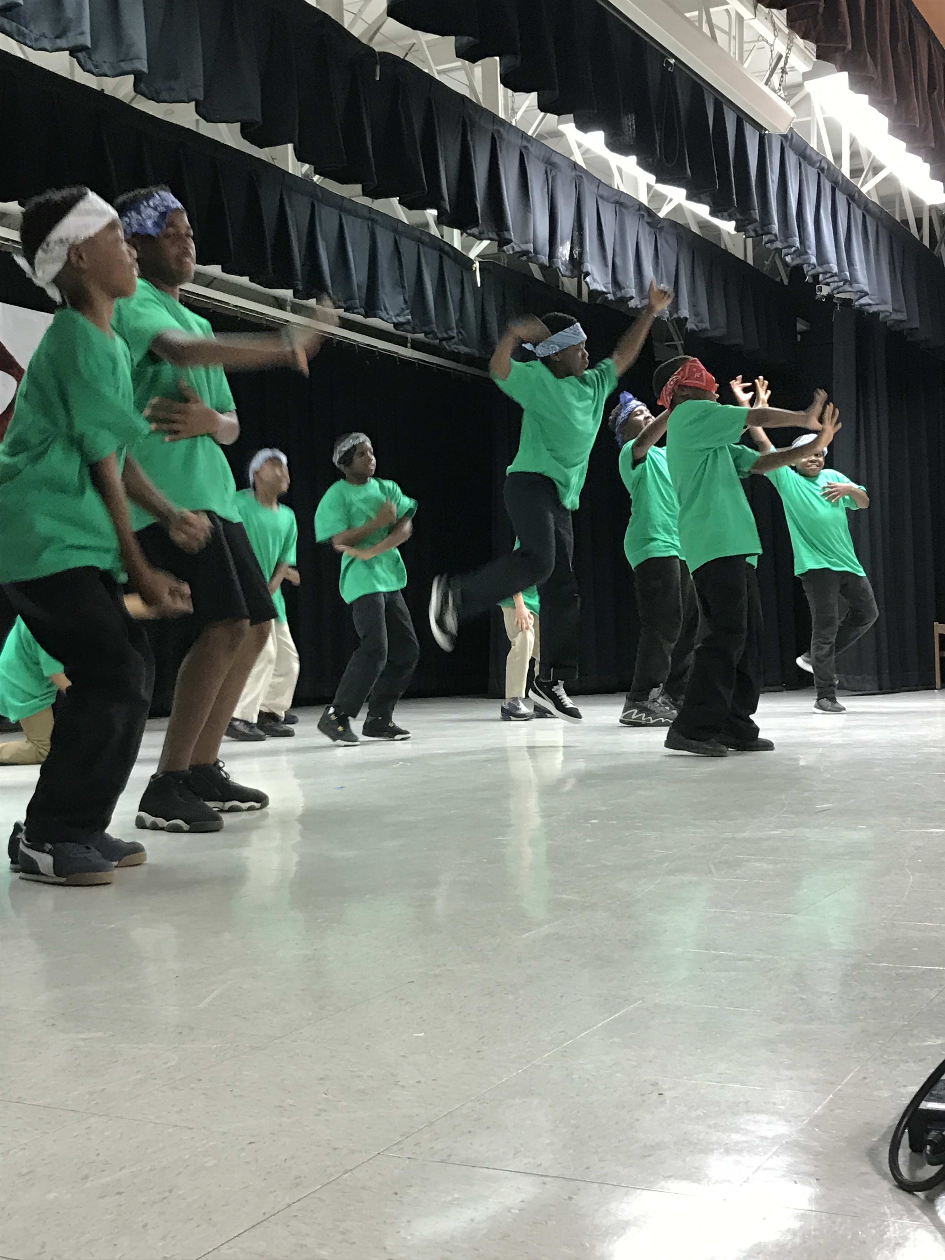"""Teaching Artist Latrice Bruno's A4L Afterschool class of 3rd-7th grade boys performing at """"A Time to Dance!"""" at Dr. Henry W. Mack/West Little River K-8 Center."""