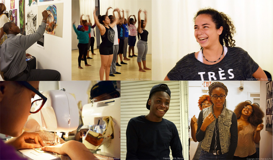 Images of teenage interns dancing, painting, sewing, and reading poetry