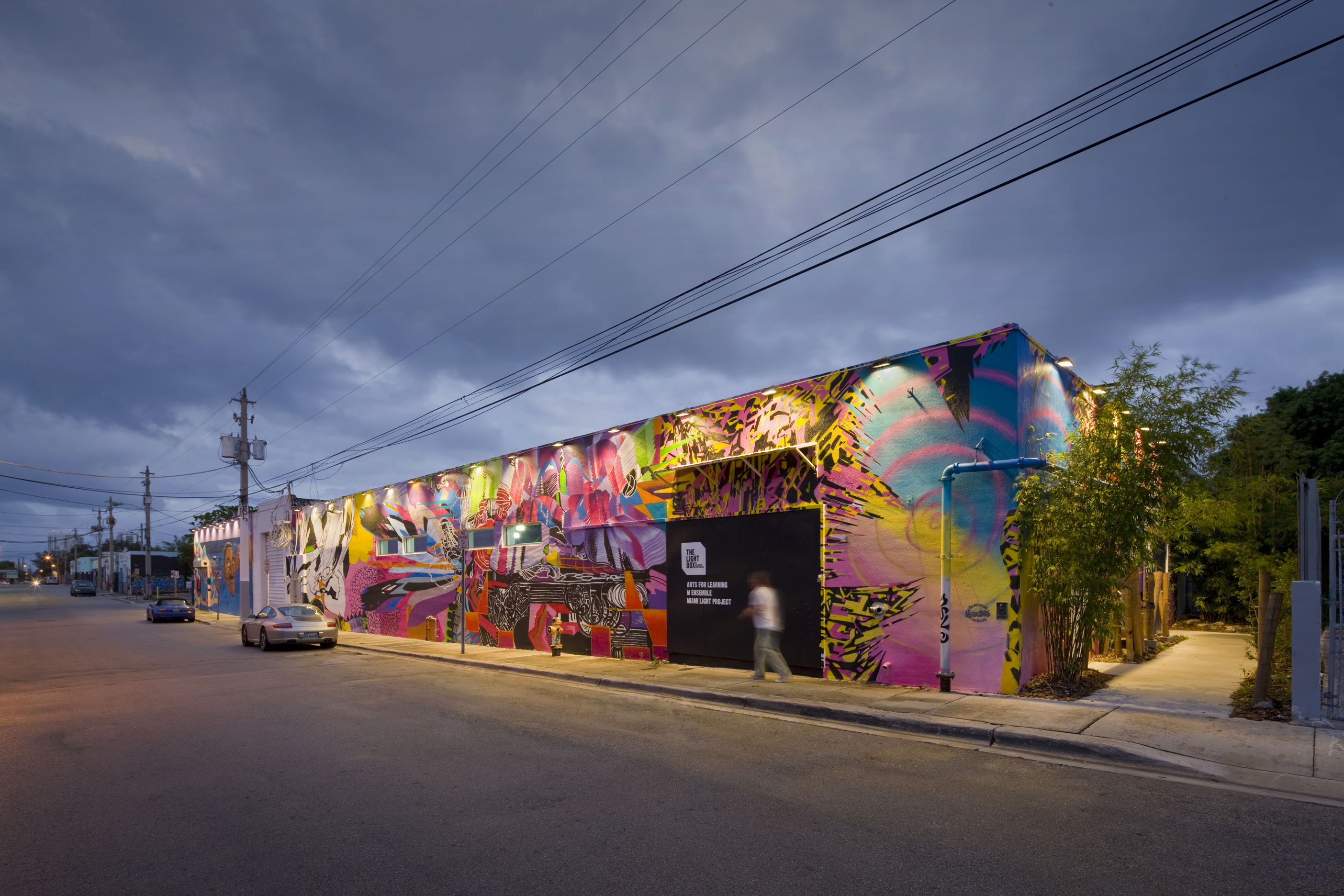 Exterior of The Light Box at Goldman Warehouse in Wynwood - Colorful mural